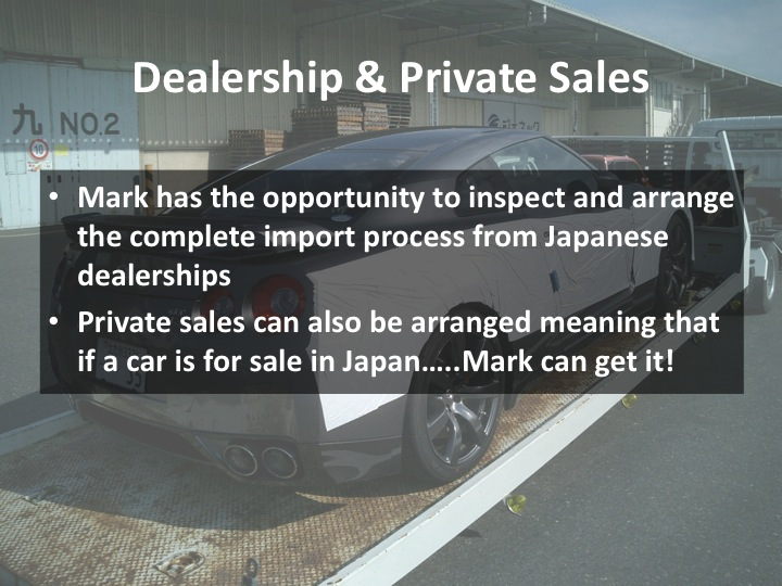 Notes on dealership and private sales